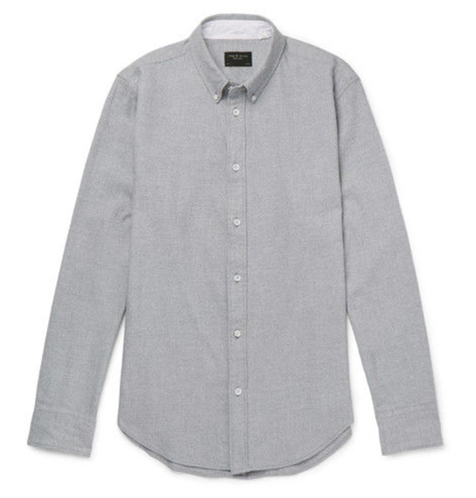 rag & bone - Slim-fit Button-down Collar Brushed Cotton-twill Shirt - Gray