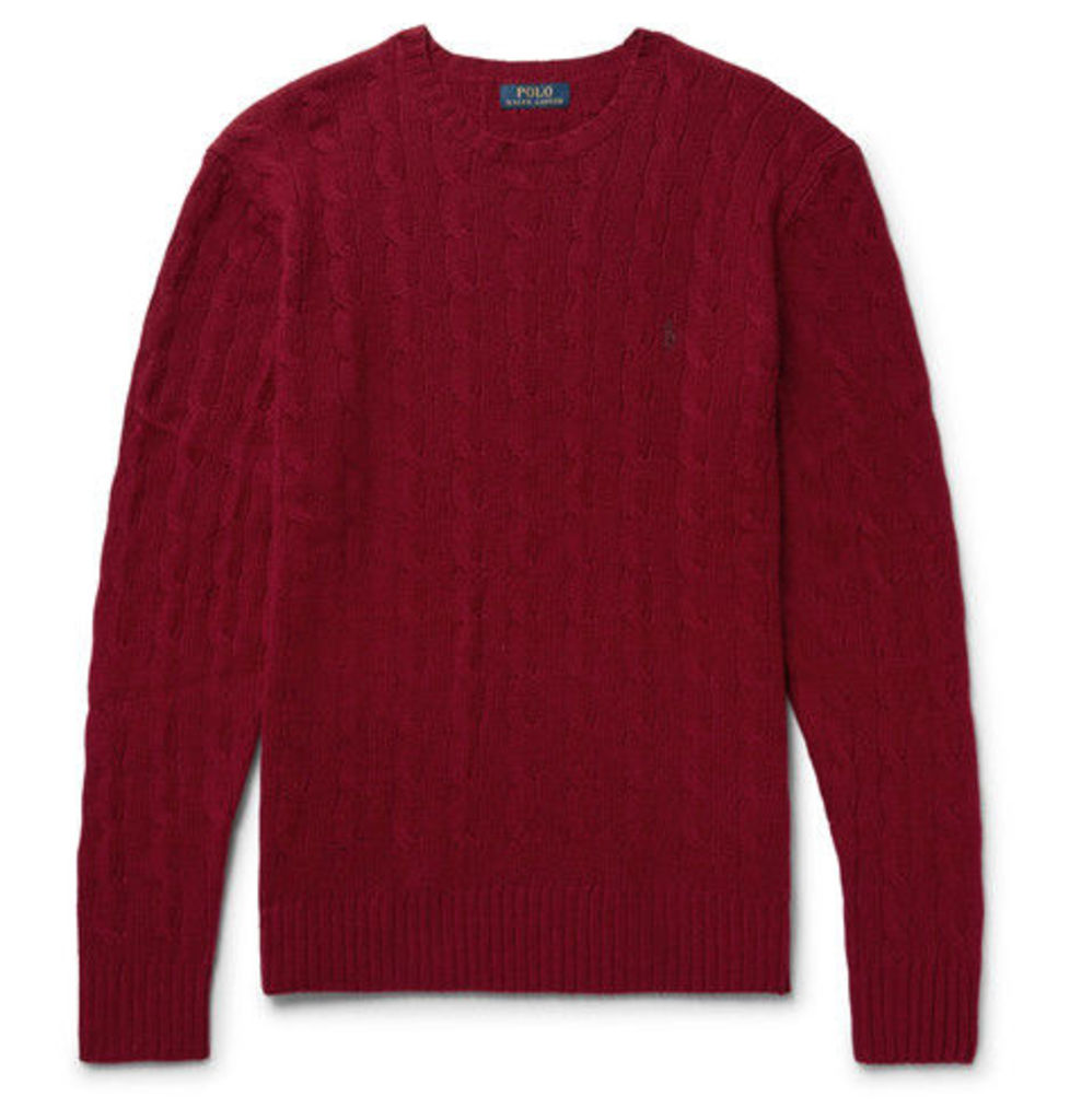 Polo Ralph Lauren - Slim-fit Cable-knit Wool And Cashmere-blend Sweater - Claret