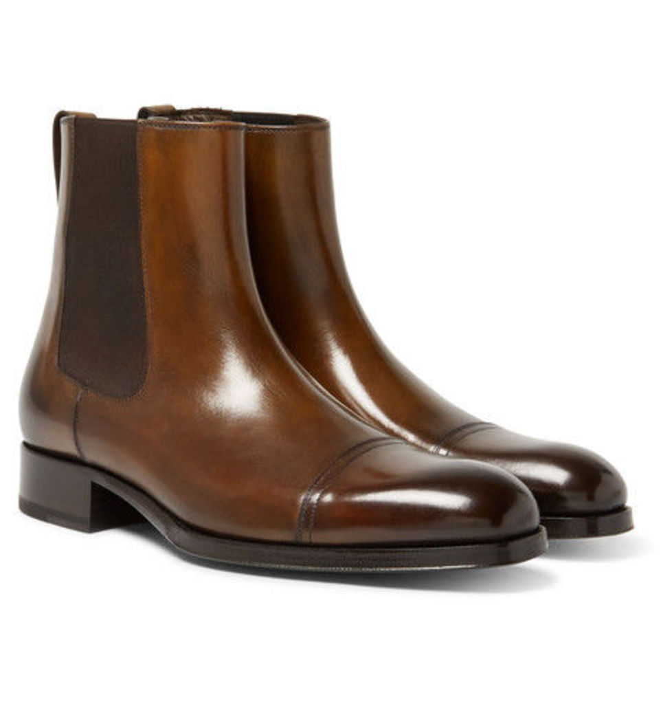 TOM FORD - Edgar Burnished-leather Cap-toe Chelsea Boots - Brown