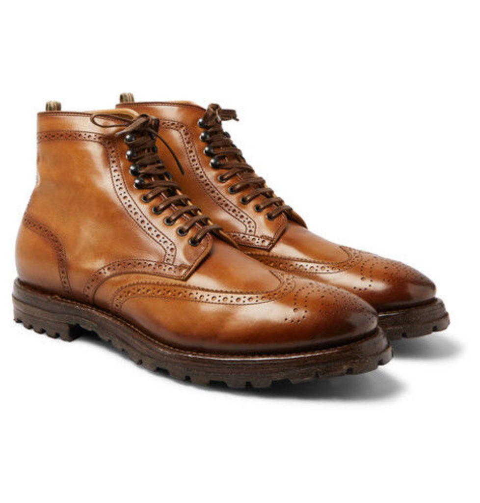 Officine Creative - Aspen Burnished-leather Wingtip Brogue Boots - Tan