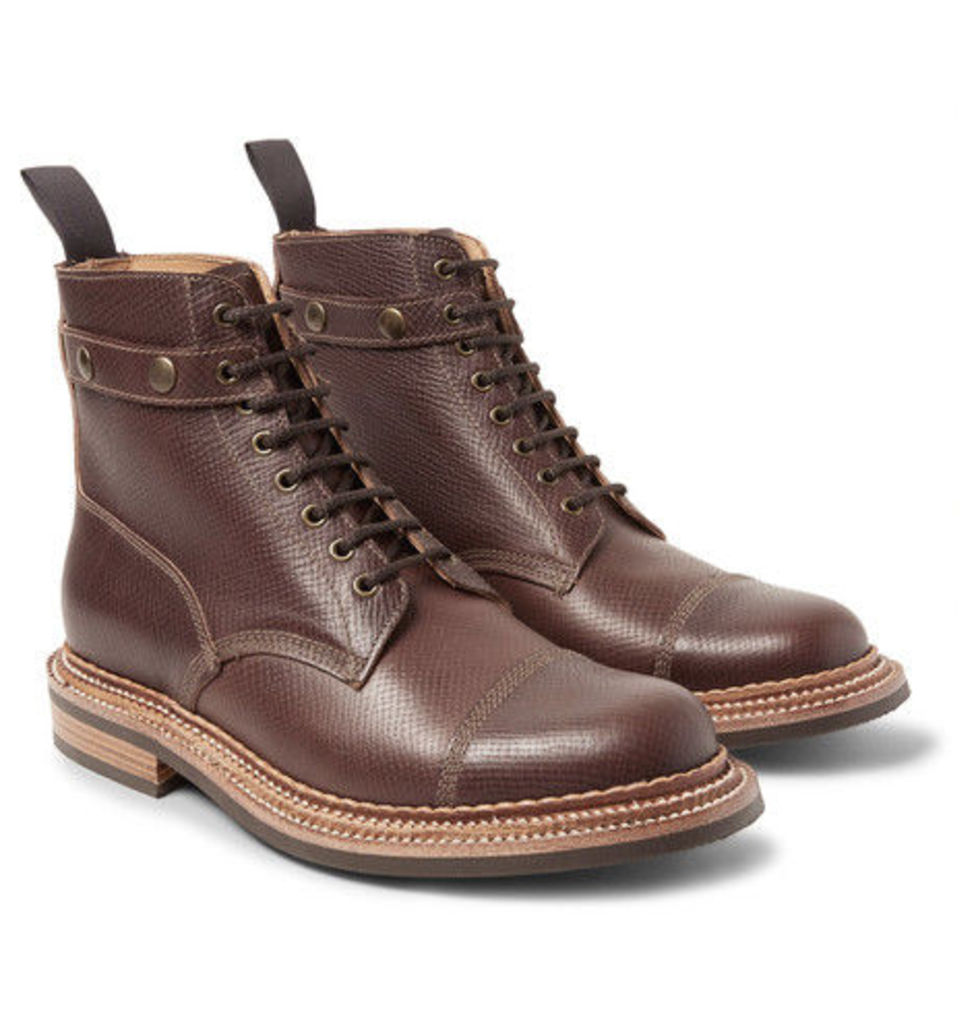 Grenson - Hunter Cross-grain Leather Boots With Detachable Shearling Trims - Dark brown