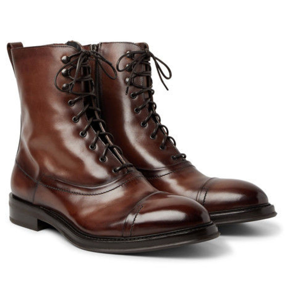 Berluti - Shearling-lined Polished-leather Boots - Brown