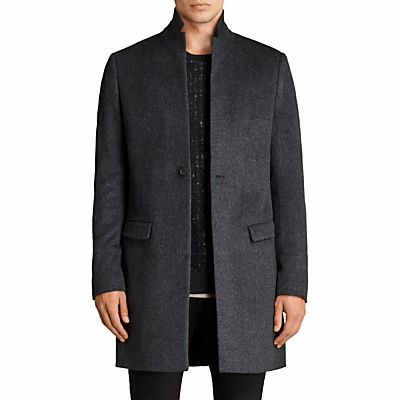 AllSaints Bodell Wool Tailored Coat, Charcoal Grey