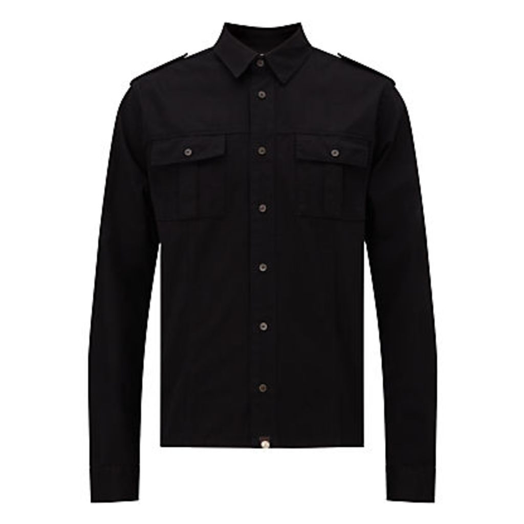 Pretty Green Marlinford Long Sleeve Shirt, Black