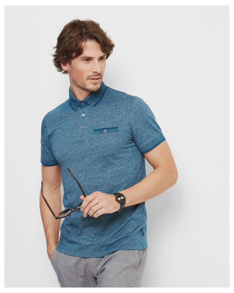 Ted Baker SS FLAT KNIT COLLAR POLO Teal