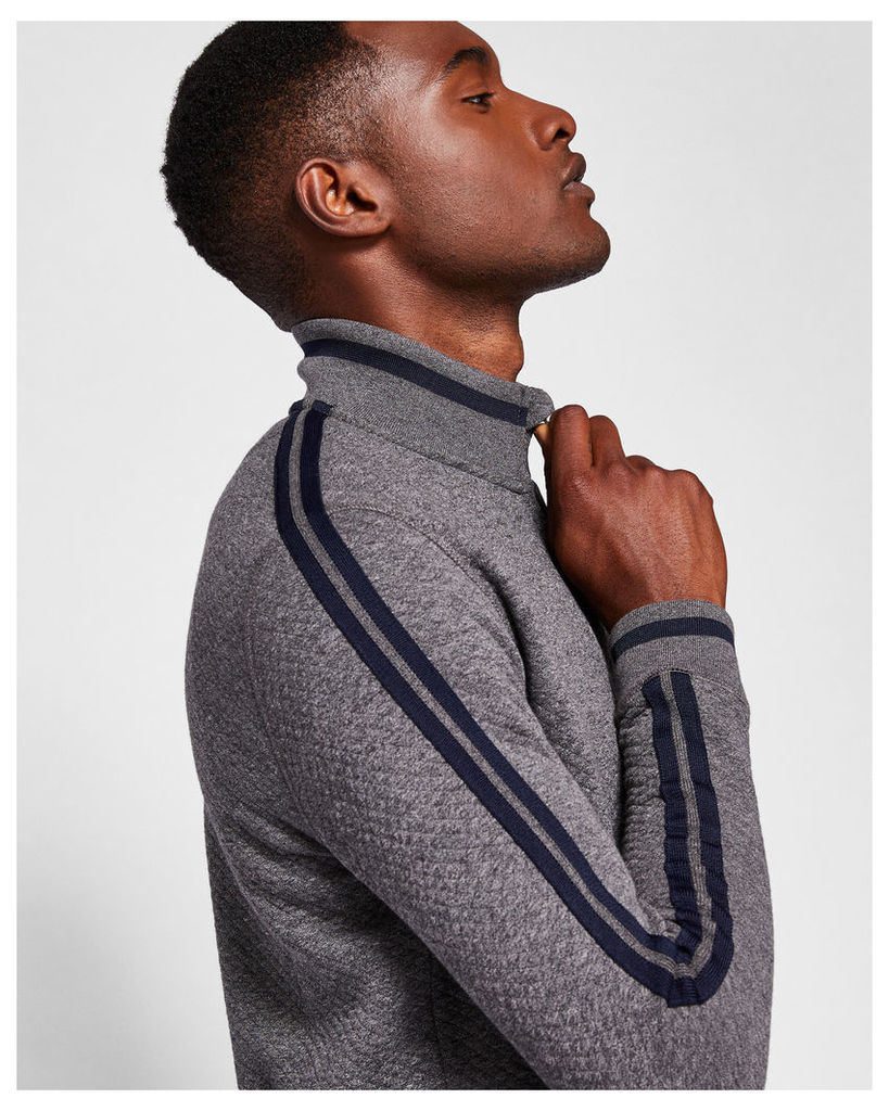 Ted Baker Quilted funnel neck jumper Charcoal