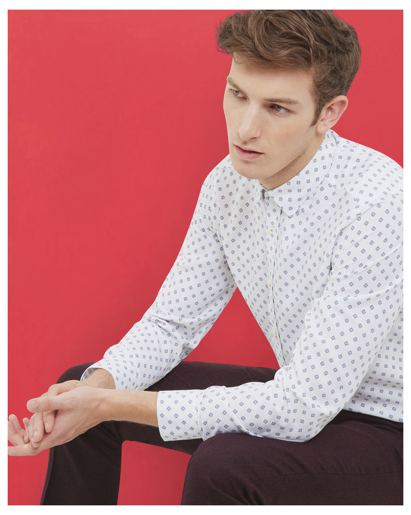 Ted Baker LS POLYNOSIC PRINTED SHIRT White
