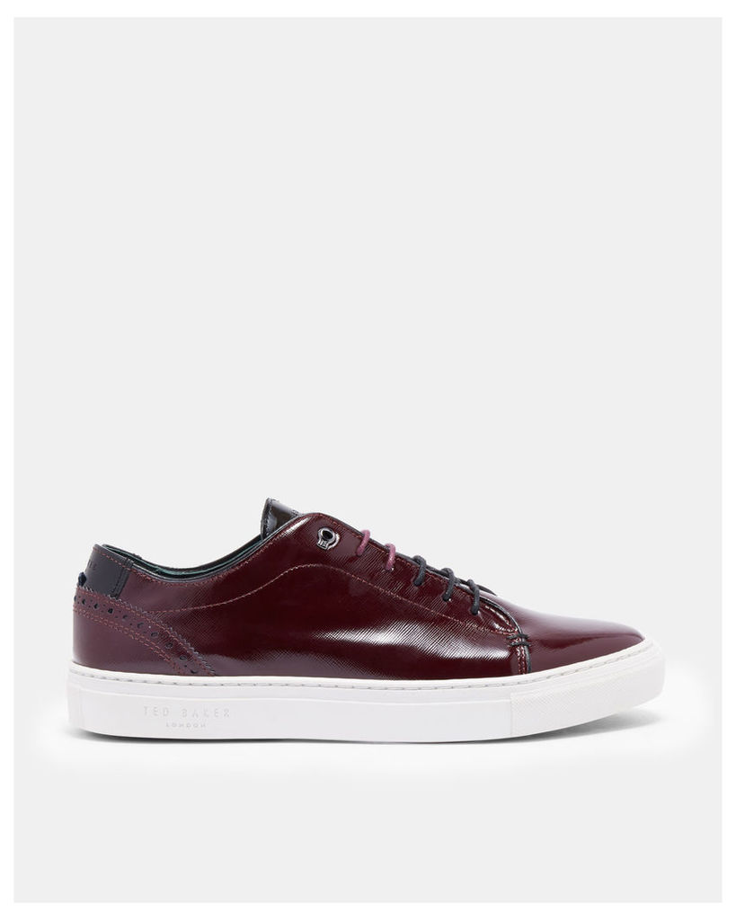 Ted Baker Brogue detail leather trainers Red Patent