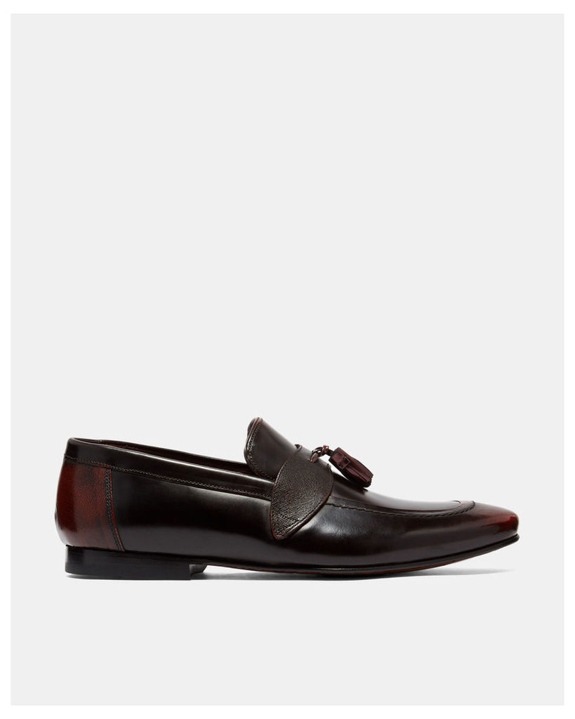 Ted Baker Tasselled leather loafers Dark Red
