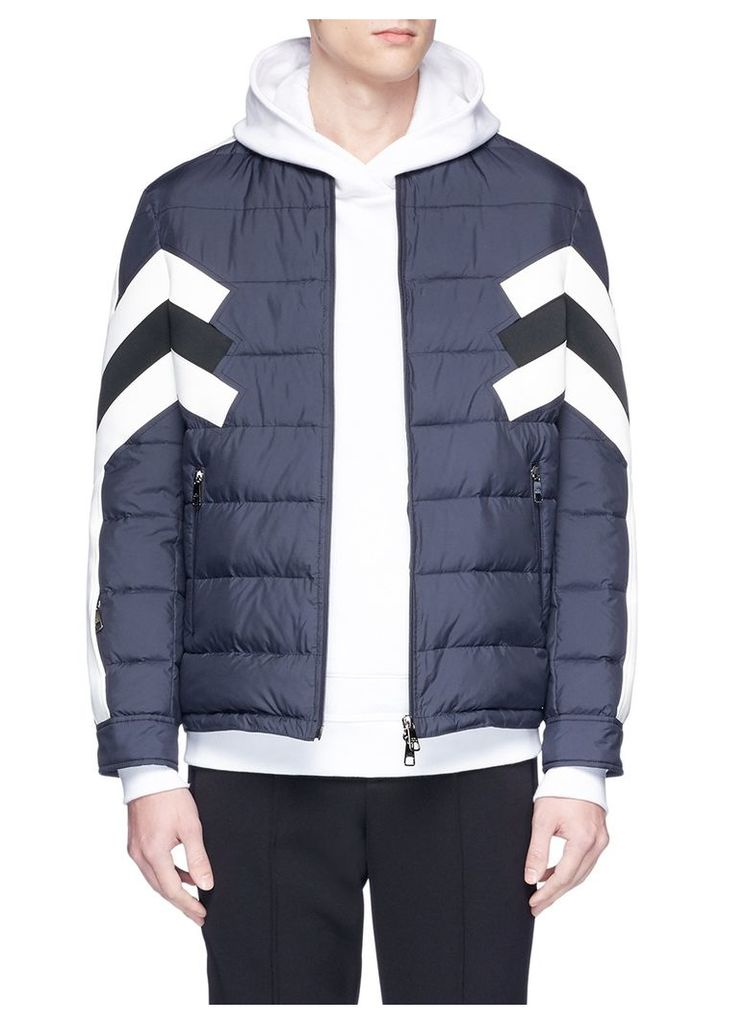 Stripe panel quilted bomber jacket