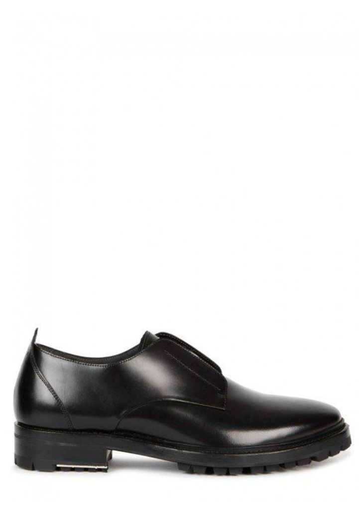 Lanvin Black Glossed Leather Derby Shoes - Size 10