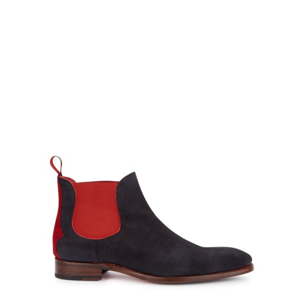 Jeffery West Horrorshow Navy Suede Chelsea Boots - Size 11