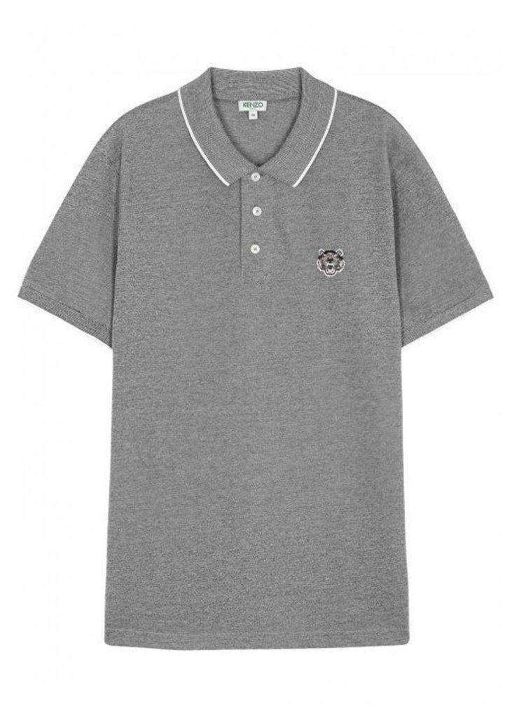 KENZO Grey Piqué Cotton Polo Shirt - Size M