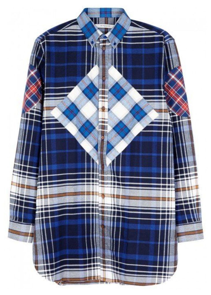 Givenchy Blue Checked Cotton Shirt - Size 15