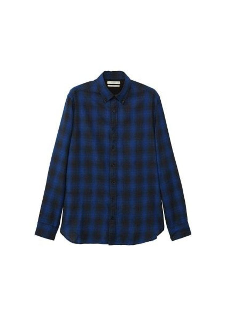Slim-fit check flannel shirt