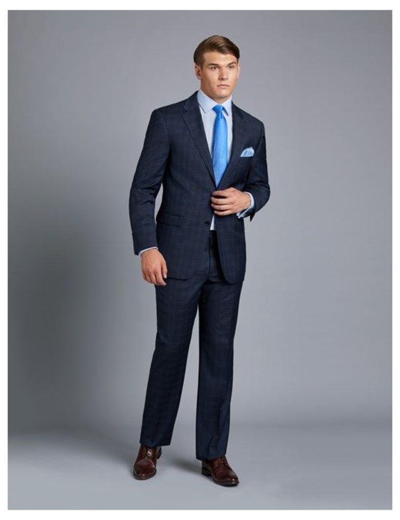 Men's Navy & Blue Overcheck Classic Fit Suit Jacket - Super 120s Wool
