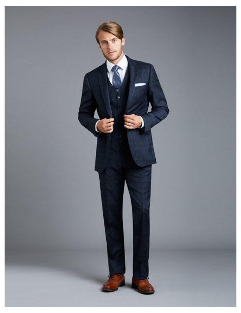 Men's Navy & Blue Big Overcheck Slim Fit Suit - Super 120s Wool