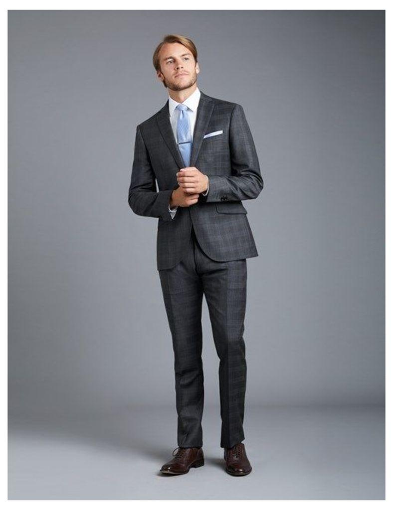 Men's Grey & Blue Large Check Extra Slim Fit Suit - Super 120s Wool