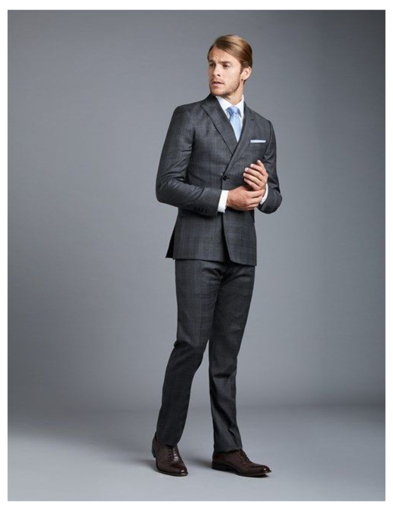 Men's Grey & Blue Large Check Extra Slim Fit Suit - Double Breasted - Super 120s Wool