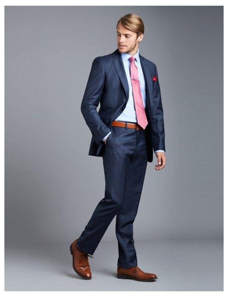 Men's Blue Big Overcheck Slim Fit Suit - Super 120s Wool
