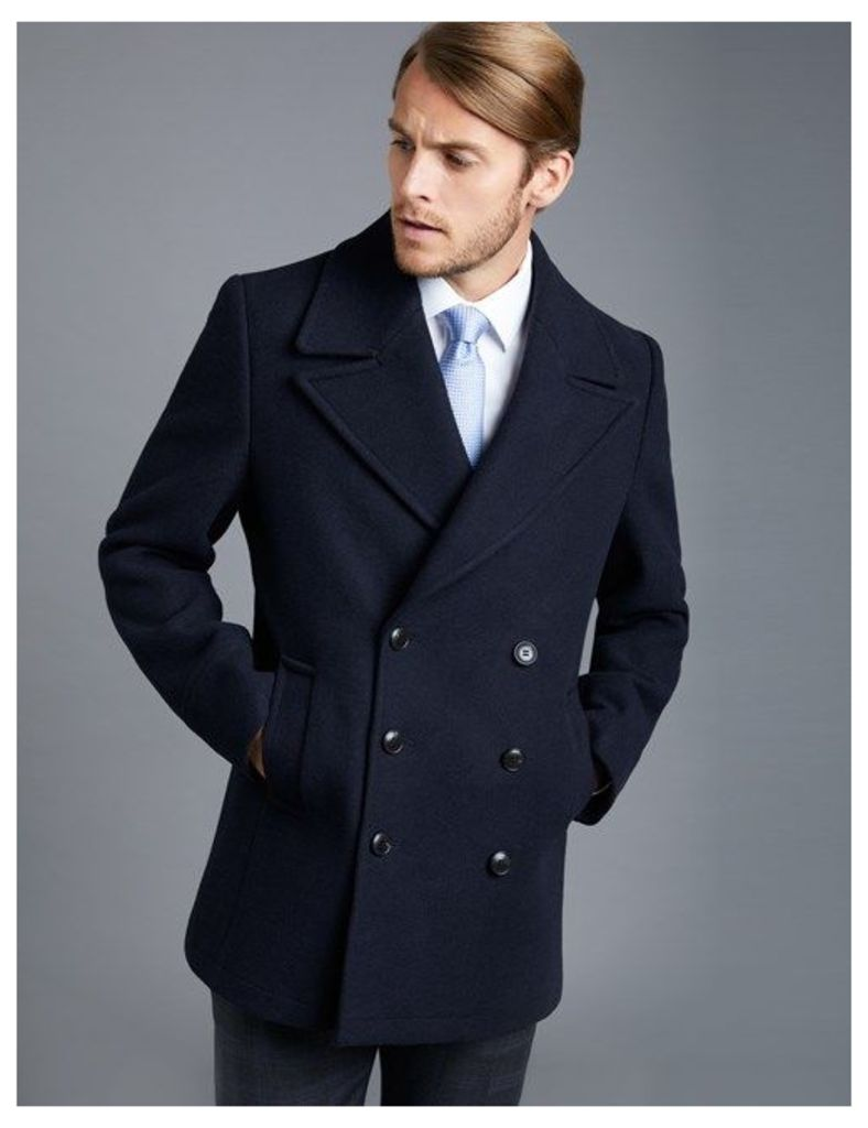 Men's Navy Wool Double Breasted Reefer Jacket