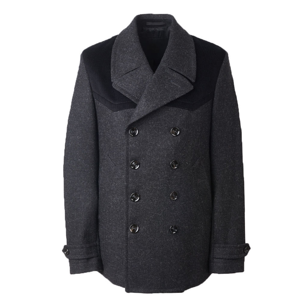Pretty Green Men's Wool Double Breasted Jacket - Charcoal - XS