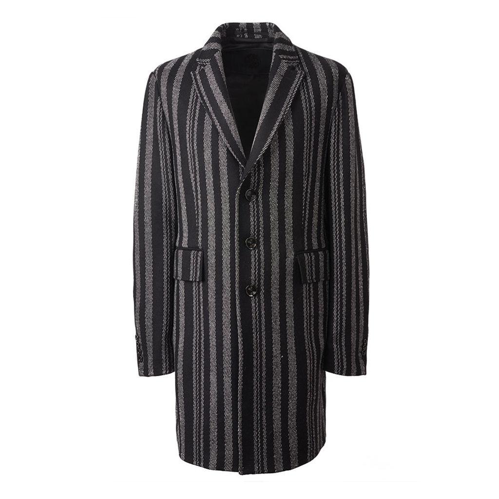 Pretty Green Men's Wool Stripe Coat - Black - 36