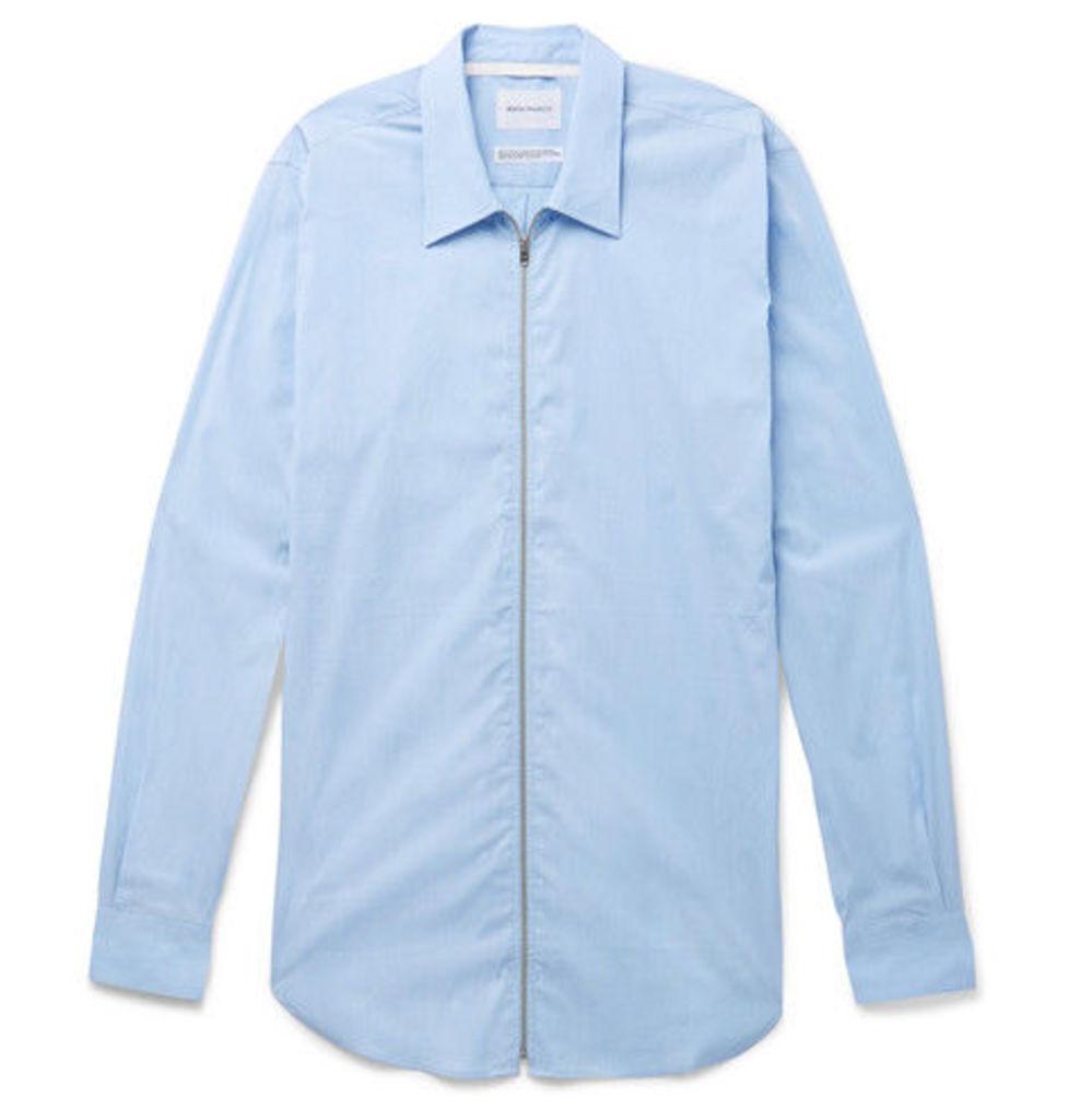 Osvald Slim-fit Stretch Cotton-blend Zip-up Shirt
