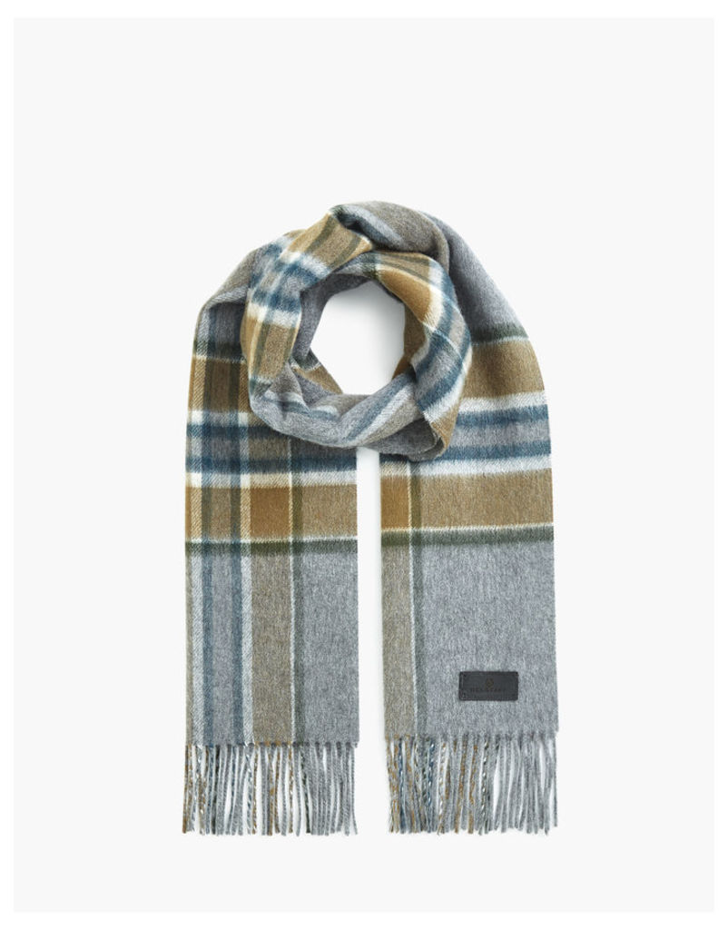 Belstaff Signature Check Double Face Cashmere Scarf teal