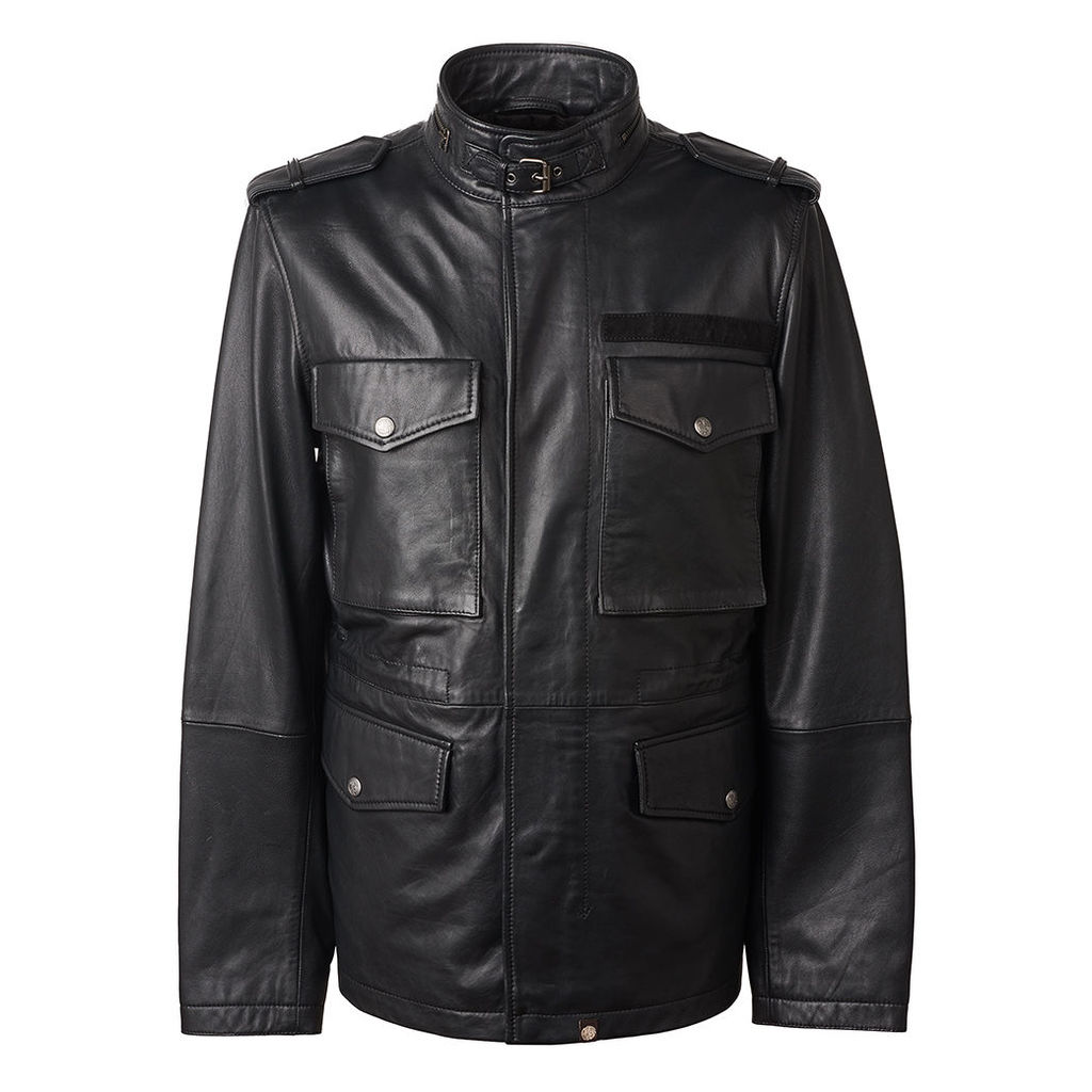 Pretty Green Men's Leather Zip Through M65 Jacket - Black - XS