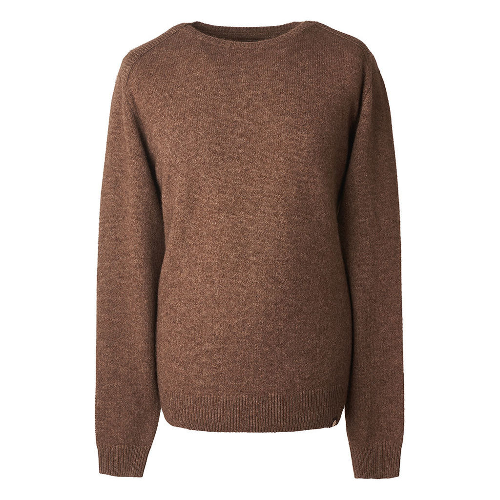 Pretty Green Men's Textured Crew Neck Knitted Jumper - MID BROWN - S