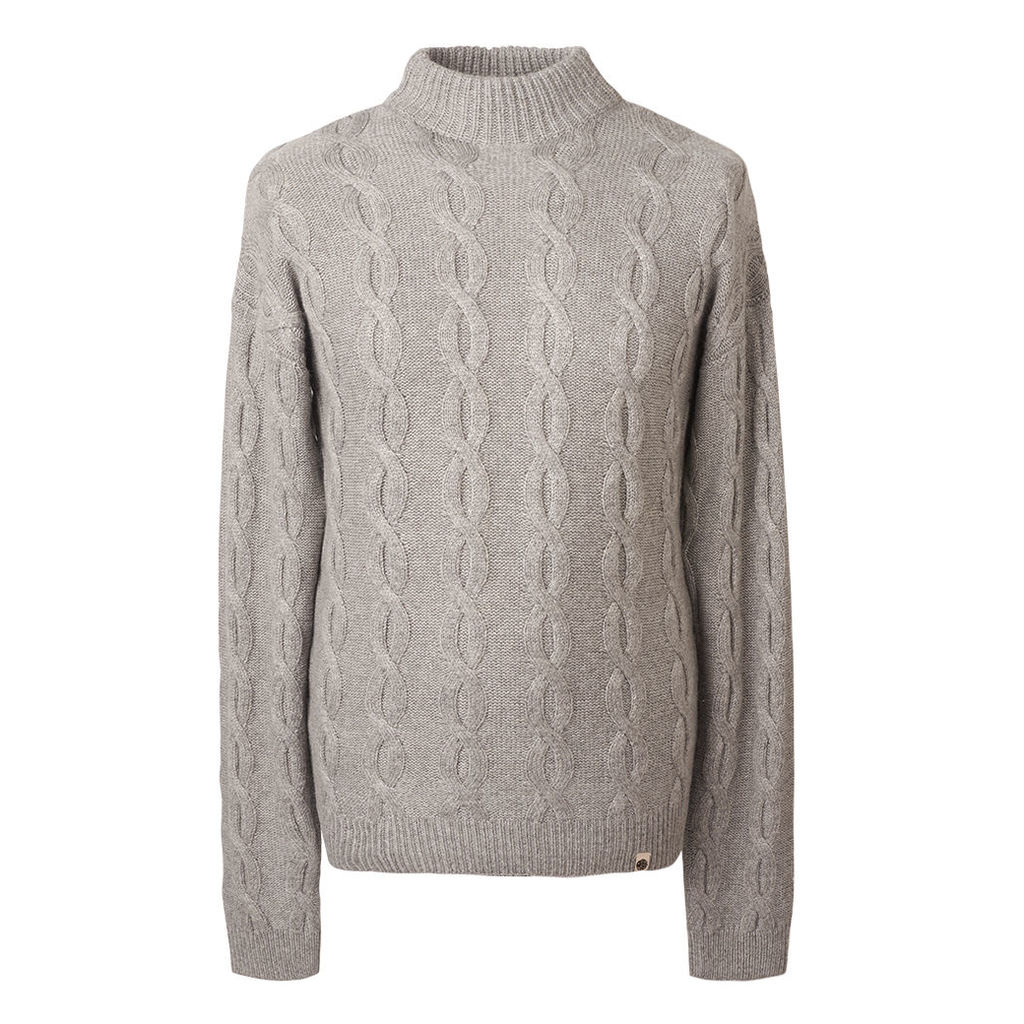 Pretty Green Men's Cable Knit Roll Neck Jumper - Grey - XS