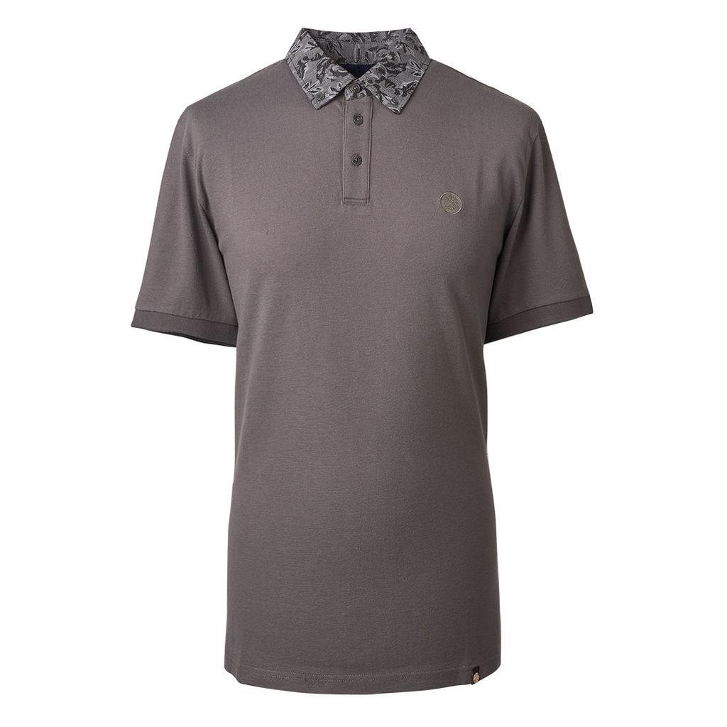Pretty Green Men's Floral Pattern Collar Polo Shirt - Grey - S