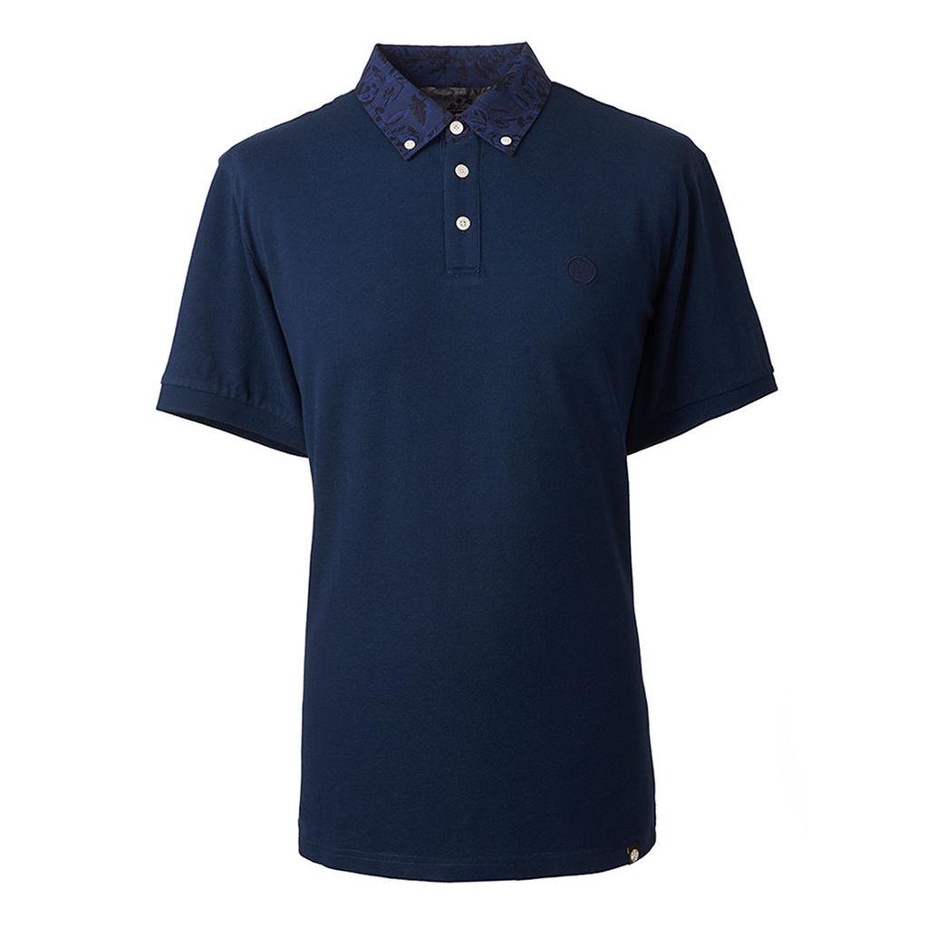 Pretty Green Men's Floral Pattern Collar Polo Shirt - Navy - XS