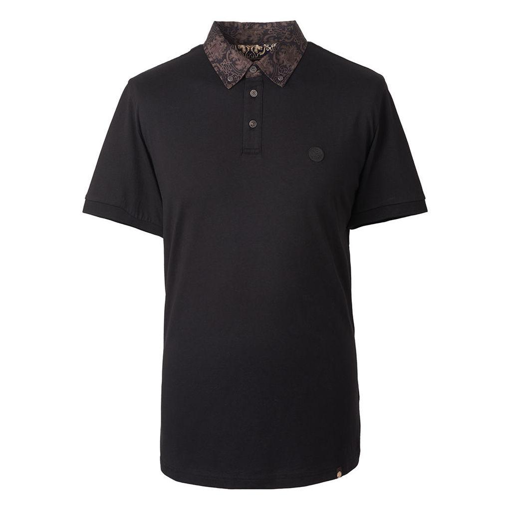 Pretty Green Men's Abstract Print Collar Polo Shirt - Black - XS