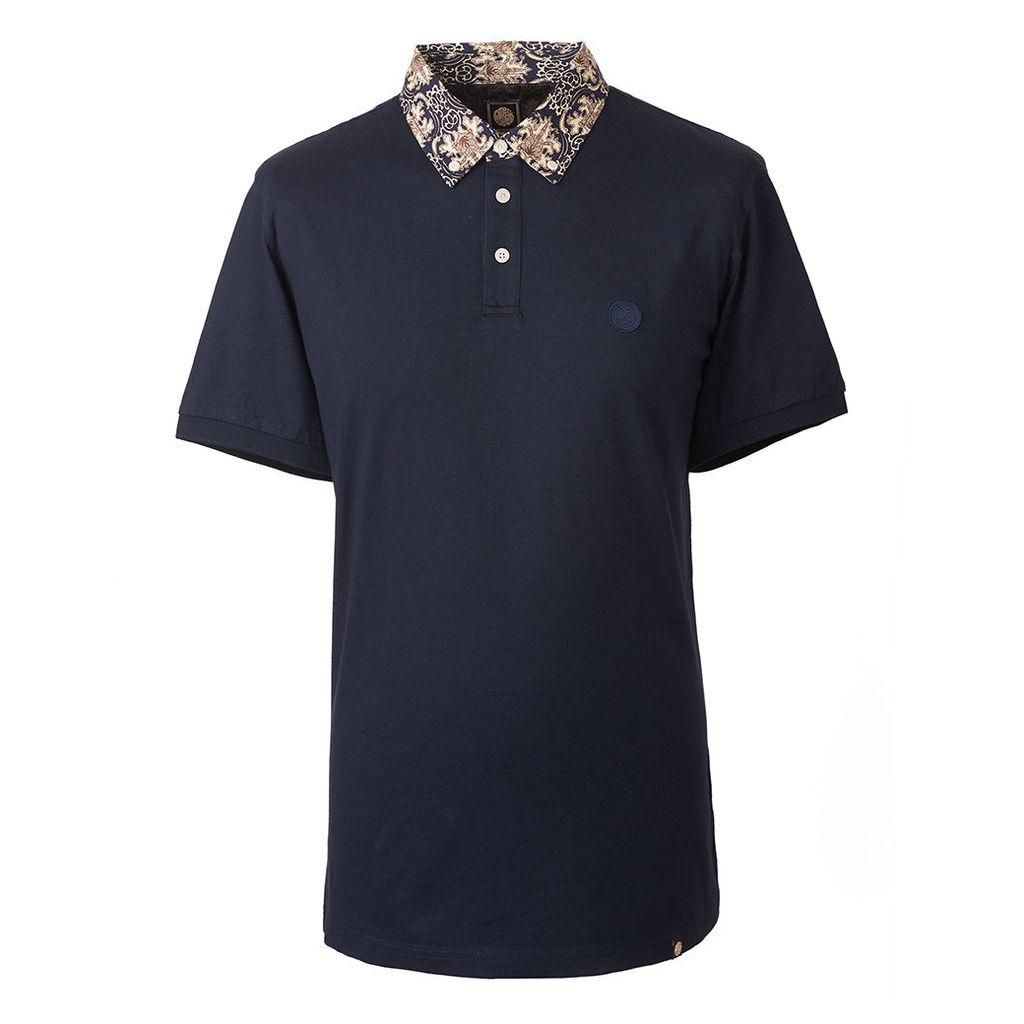 Pretty Green Men's Abstract Print Collar Polo Shirt - Dark Navy - S