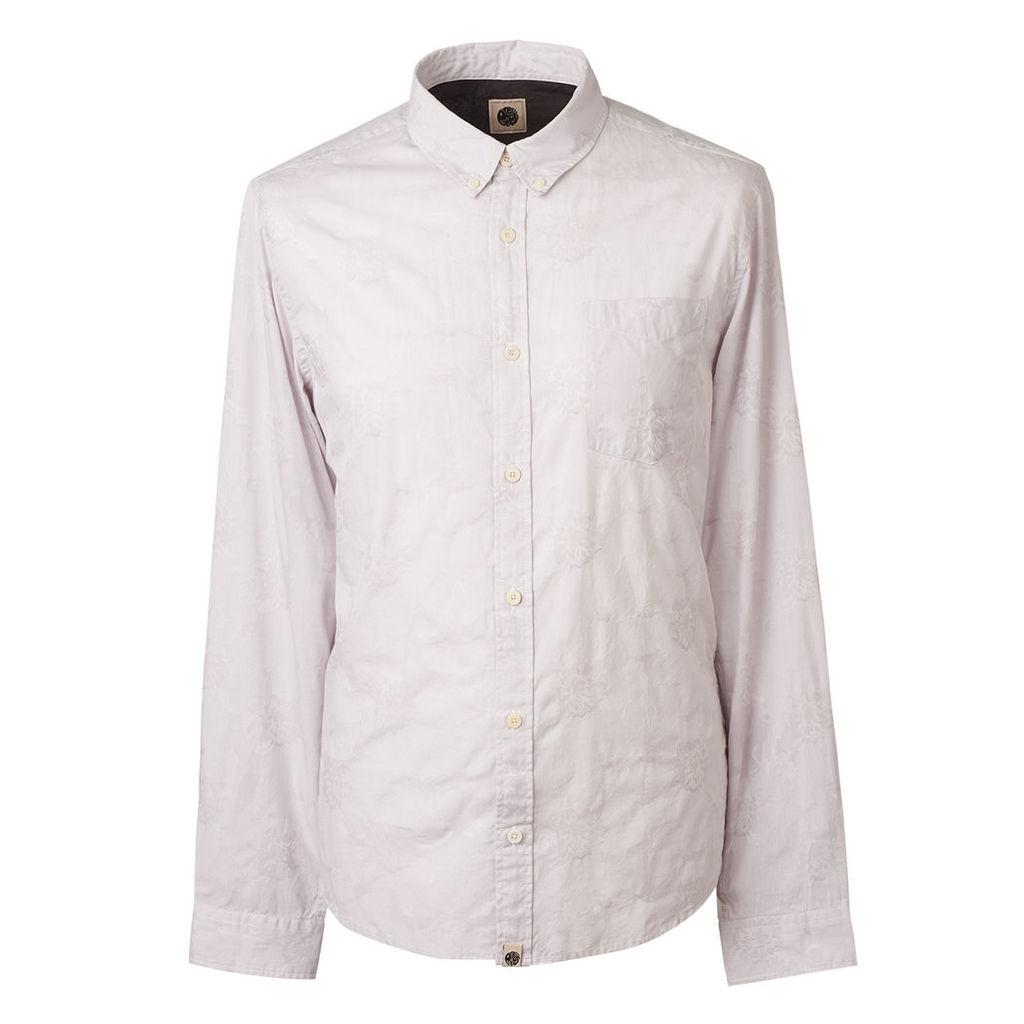 Pretty Green Men's Slim Fit Floral Jacquard Shirt - Grey - XS