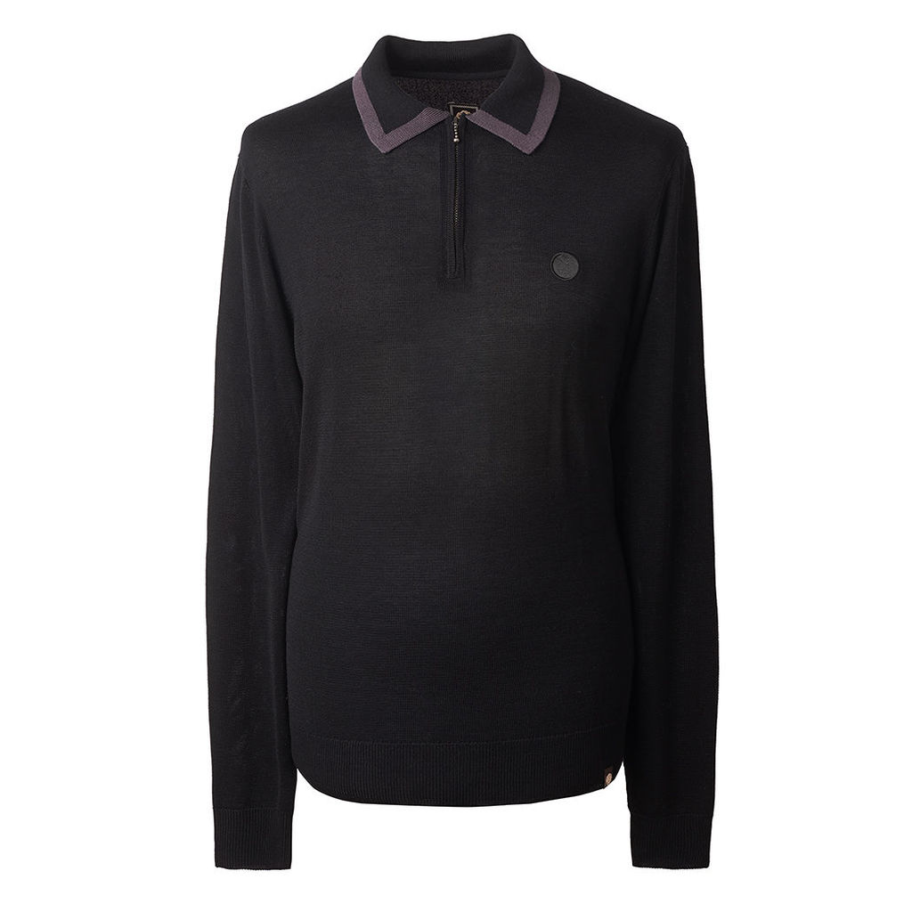 Pretty Green Men's Long Sleeve Tipped Knitted Polo - Black - XS