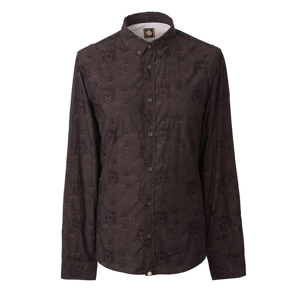 Pretty Green Men's Slim Fit Floral Jacquard Shirt - Black - XS