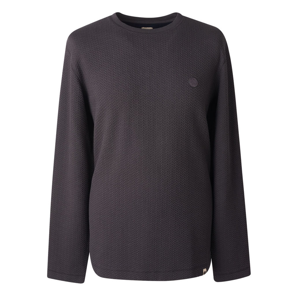 Pretty Green Men's Long Sleeve Waffle Texture T-Shirt - Dark Navy - XS