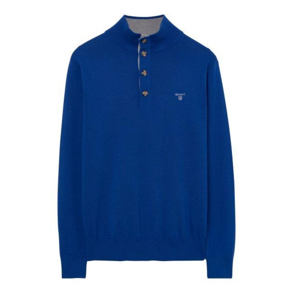 Sporty Cotton Mock Neck Jumper - Yale Blue