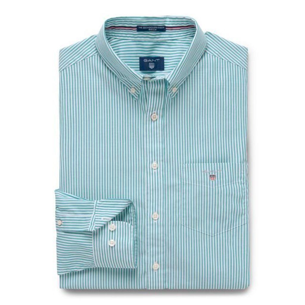 Regular Fit Poplin Banker Shirt - Emerald Green