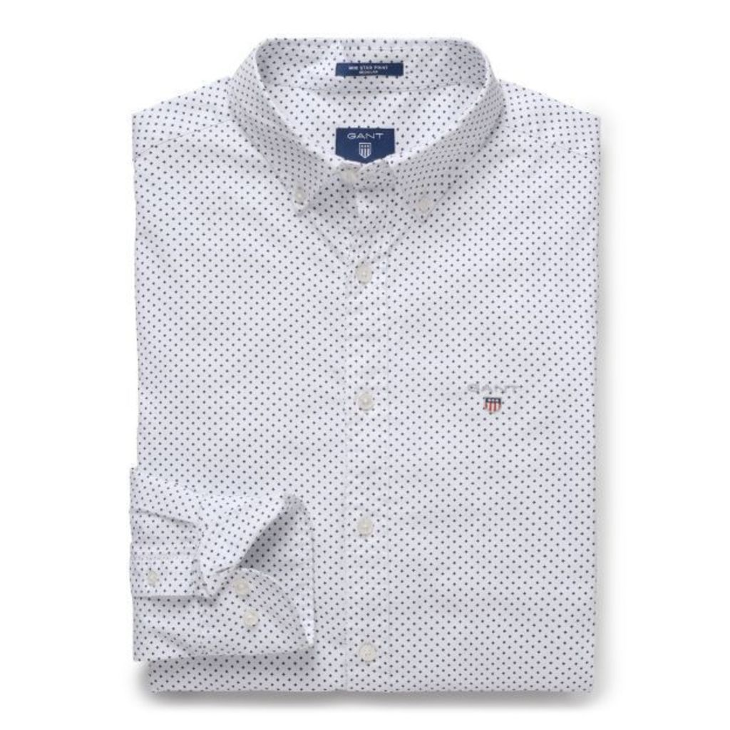 Regular Fit Mini Star Print Shirt - White