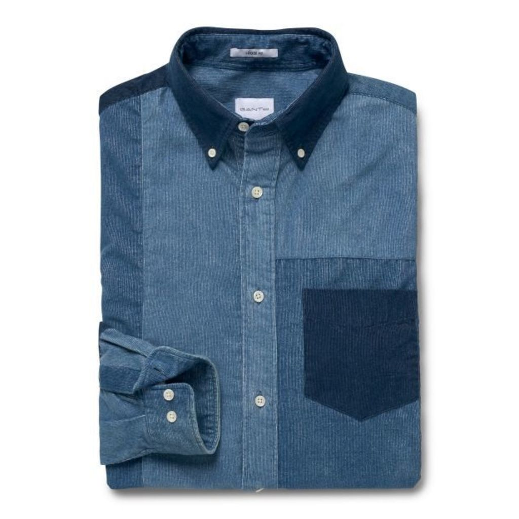Loose Fit Patchwork Indigo Corduroy Shirt - Dark Indigo