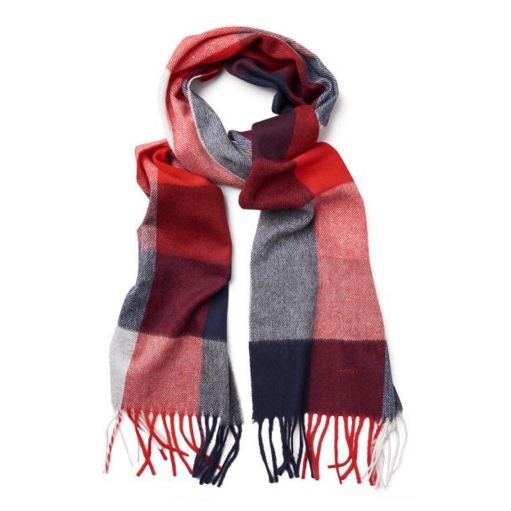Block Check Scarf - Port Red