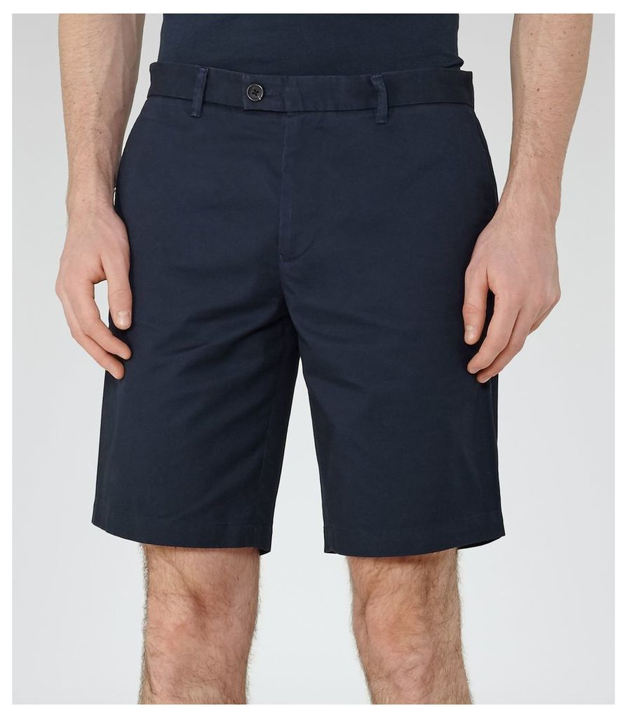 Reiss Wicker - Tailored Chino Shorts in Navy, Mens, Size 28