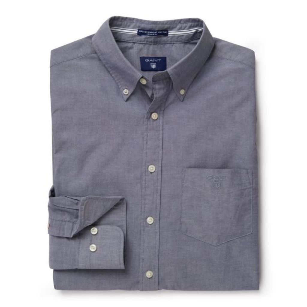 Washed Pinpoint Oxford Shirt - Evening Blue