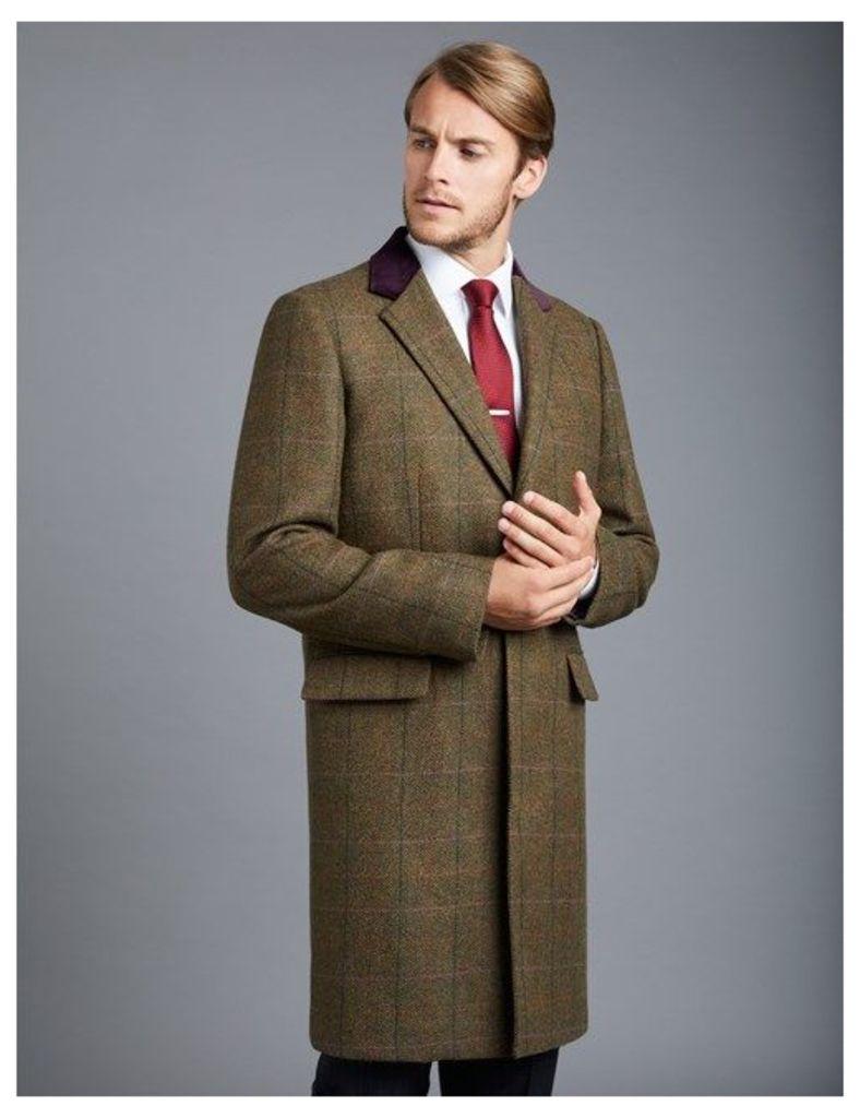 Men's Tweed Khaki Herringbone Covert Coat - 100% Wool