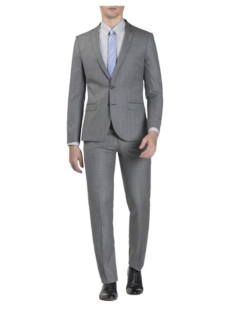 Grey Windowpane Check Jacket 34L Grey