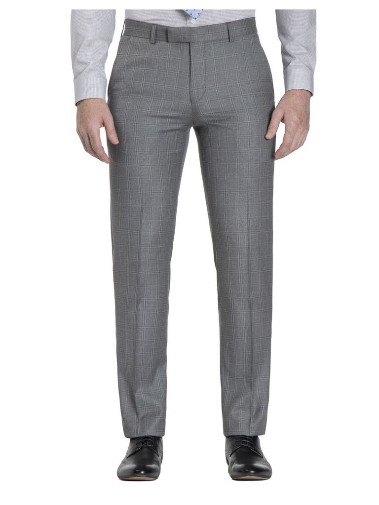 Smoked Grey Windowpane Check Camden Fit Trouser 28L Grey